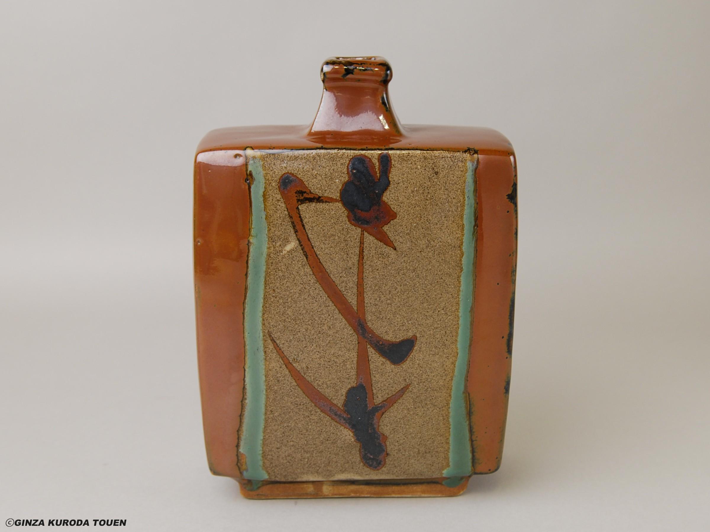 Shoji Hamada: Flat vase, Kaki glaze, Iron decoration