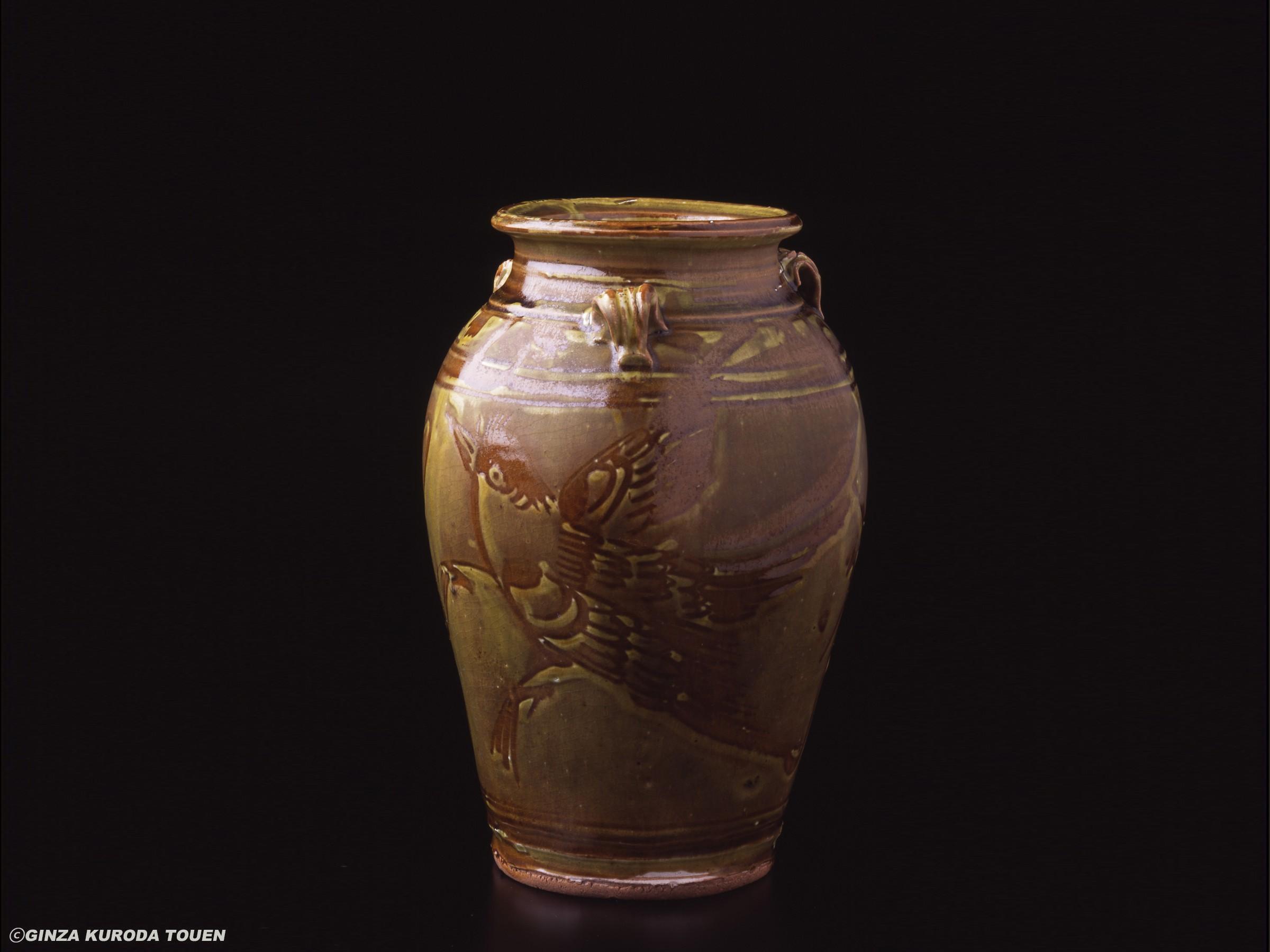 Kanjiro Kawai: Jar, Bird design [Shokei kiln]