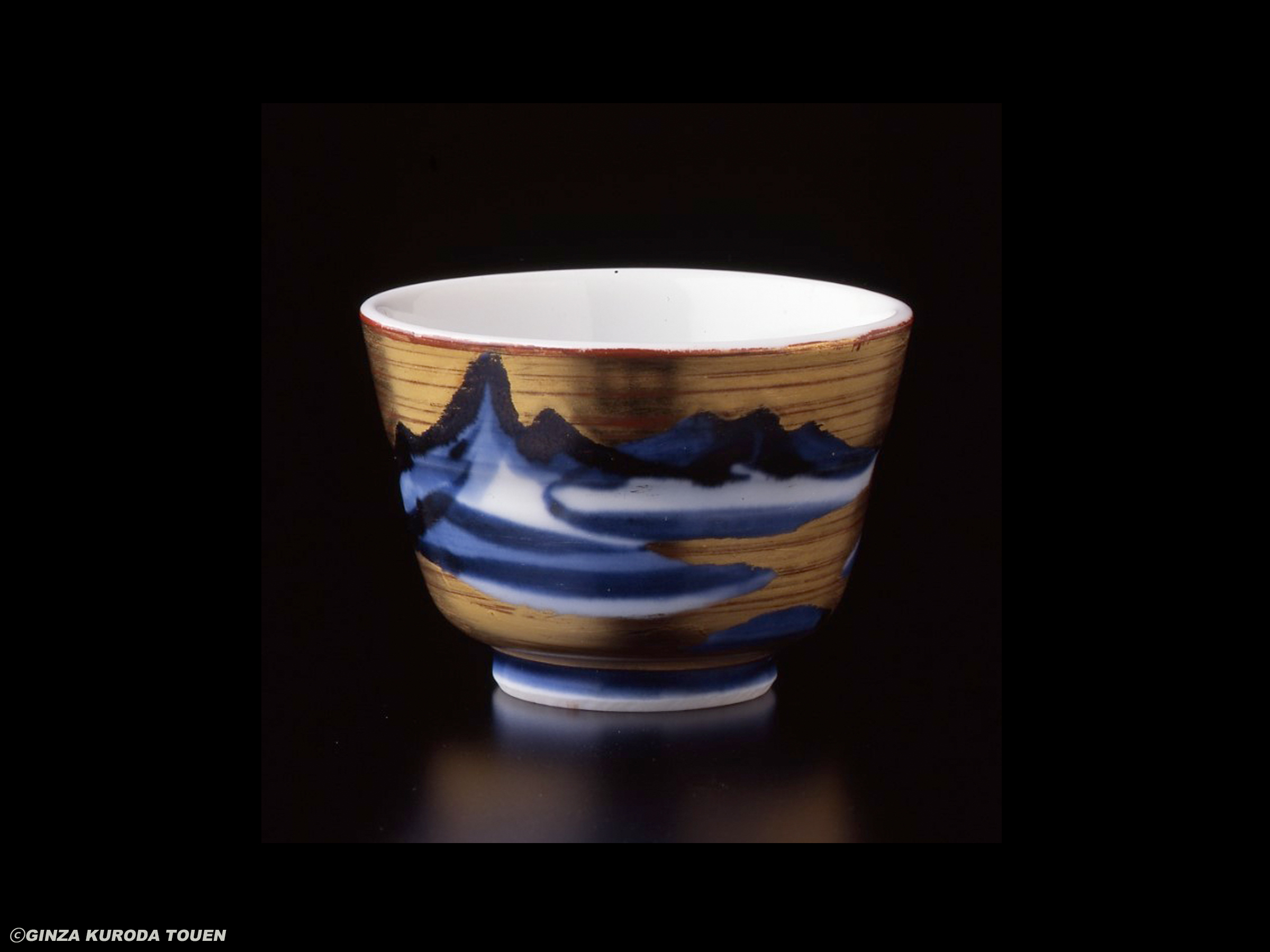 Yuzo Kondo: Sake cup, Sometsuke and gold painting