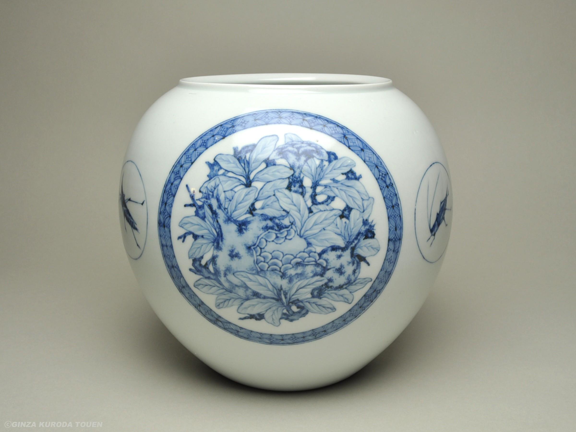 楠部彌弌 三果蟲文花瓶