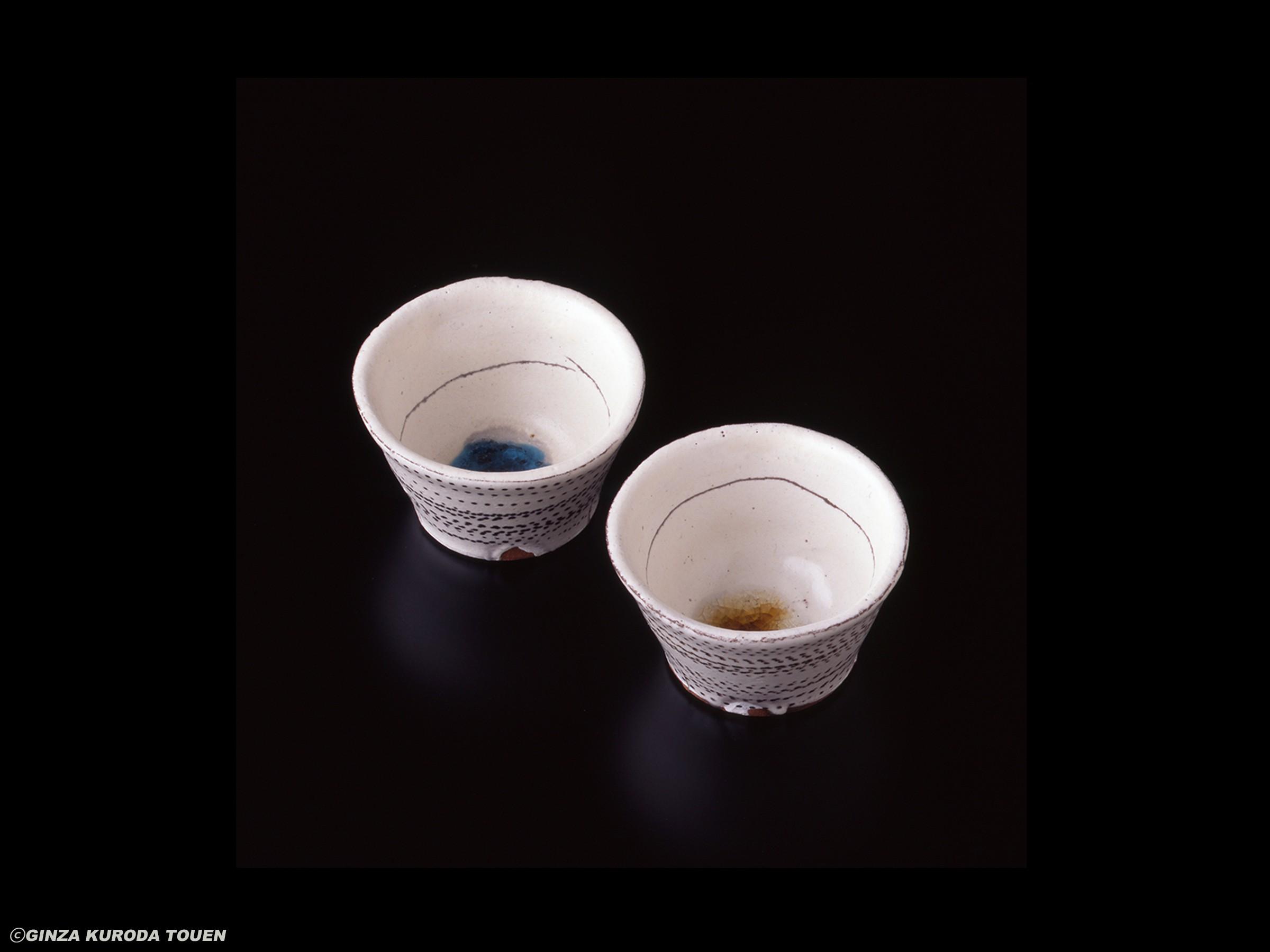Kazuo yagi: A set of two white sake cups
