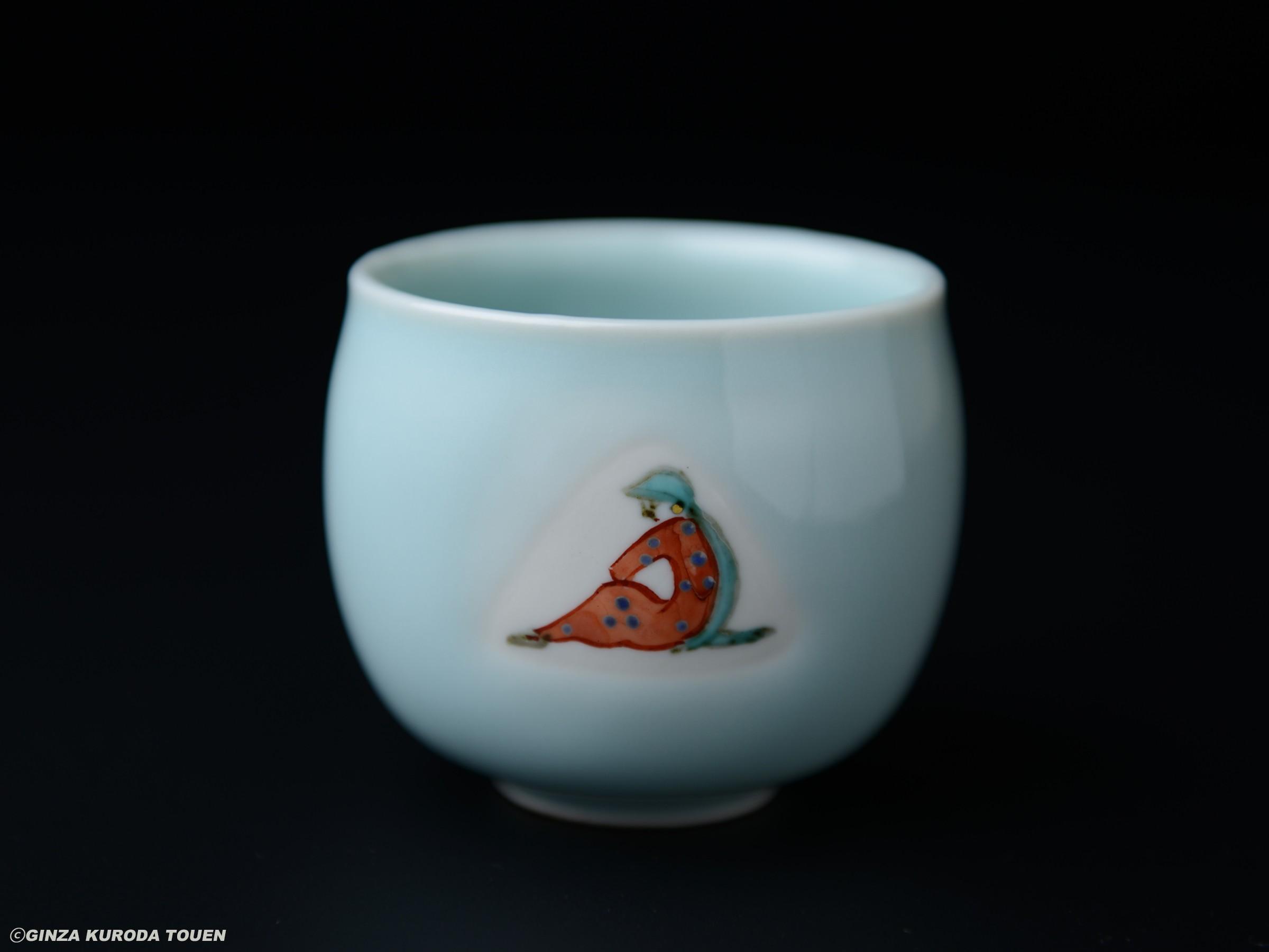 Koheiji Miura   Sake cup, Celadon type, Afghan girl design
