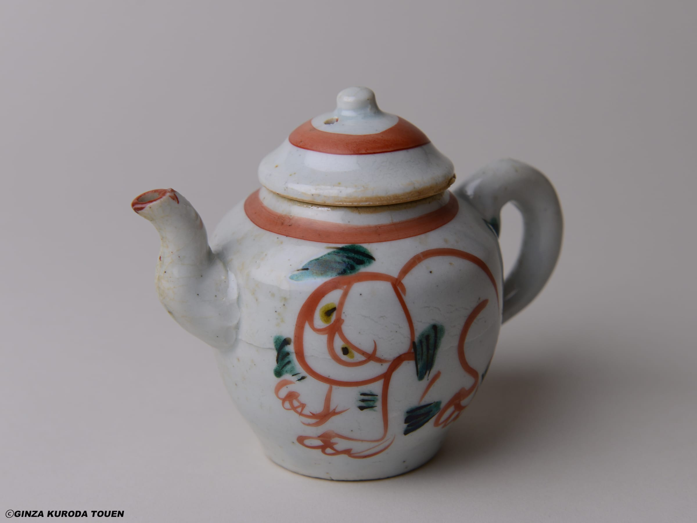 Munemaro Ishiguro: Tea pot, Red painting, Lion design